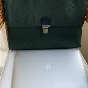 Cole Haan Push Lock Pebble Green Leather Briefcase
